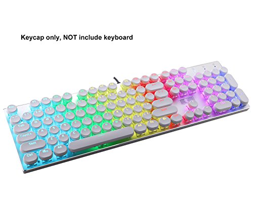 E-Yooso Retro Keycaps Set, PBT Double Shot, Translucent Backlit 104 Key Cap with Key Puller for Keyboards wirh 61, 81, 87, 104 Key (White) ()