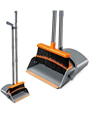 Kelamayi Broom and Dustpan Set, Super Long Handle Lobby Broom, Self-Cleaning with Dust Pan Teeth, Ideal for Home, Kitchen and Office Use