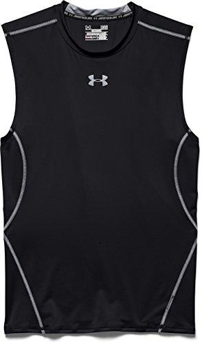 Under Armour Undershirt - Under Armour Men's HeatGear Armour Sleeveless Compression Shirt, Black /Steel, Medium
