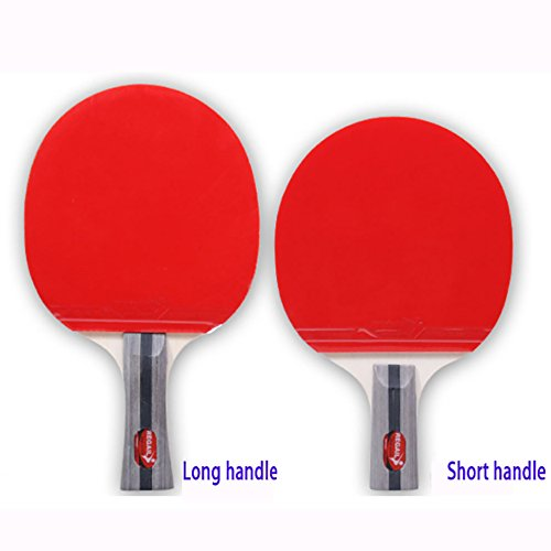 NEWNESS WORLD Ping Pong Paddle Set 2 Table Tennis Rackets Paddles Three Balls with Portable Travel Carrying Case for Home Indoor Outdoor Sport Training Bundle(Long Handle) by NEWNESS WORLD