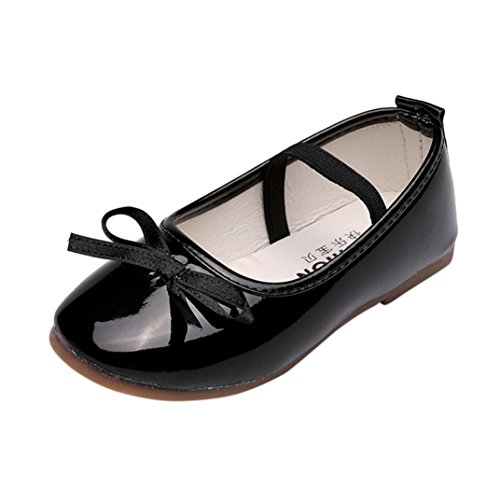 Rucan Child Baby Girls Fashion Sneaker Single Leather Pricness Shoes (Black, 3.5-4 Years)
