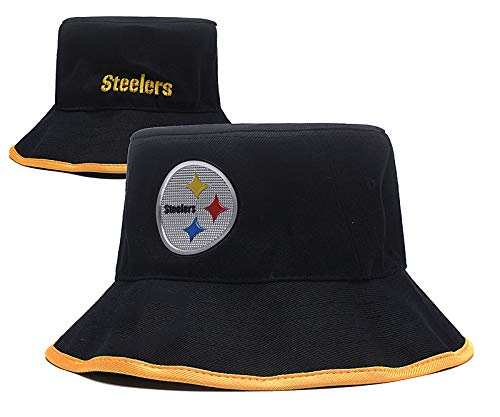 NFL Team Pattern Fashion Bucket Hat Fisherman Cap hat (Pittsburgh Steelers) -
