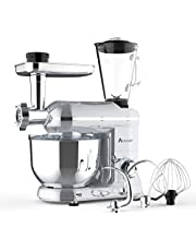 Ausbuy Stand Mixer, 1100W 4.5L 6-Speed Tilt-Head Food Mixer, Kitchen Electric Mixer with Dough Hook, Wire Whip & Beater