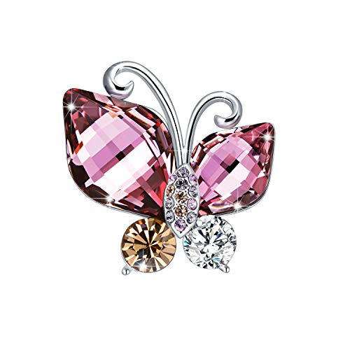 RAINBOW BOX Butterfly Brooch,Rhinestone from Swarovski Crystal Jewelry Brooches for Women, Birthday for ()