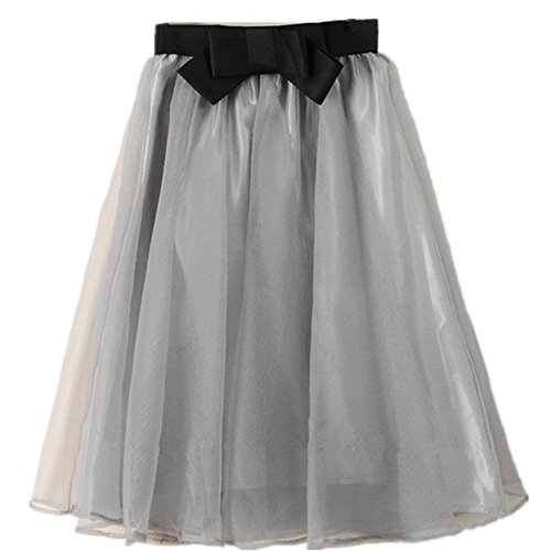 YSJERA Lady's Organza Princess Skirt Bowknot Pleated Midi/Knee Length Tutu Skirts (0X, Grey)