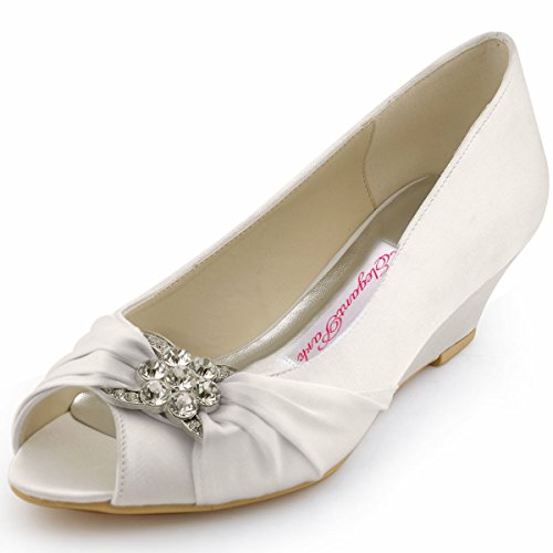 ElegantPark WP1403 Women Peep Toe Pumps Rhinestones Mid Heel Wedges Satin Wedding Bridal Shoes Ivory US 8