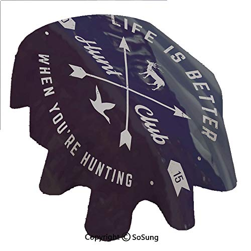 SoSung Hunting Decor Oval Polyester Tablecloth,Grunge Hunt Club Emblem with Arrows Motivating Quote Mountains Backdrop Decorative,Dining Room Kitchen Oval Table Cover, 60 x 84 inches,Brown Blue White