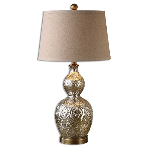 Uttermost 26675 Diondra - One Light Table Lamp (Set of 2), Antiqued Brass Finish with Mottled Mercury Glass with Copper Brown Linen Fabric ()