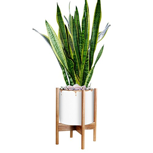 "Top Indoor Plant Stand Width 11"" Excluding White Ceramic Planter Pot Acacia Wood"