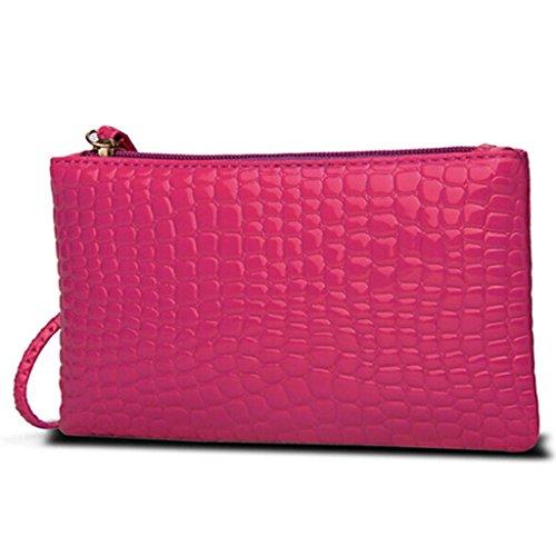 HuntGold 1 X Frauen Tragbare Alligator Textur Wallet Reißverschluss Handtasche Handtasche Geldbörse (pink)