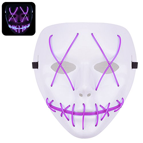 Ankuka Creepy Halloween Costume LED Mask,Scary EL Wire Light Up Mask for Festival,Show and Party(Light (30 Off Halloween Costumes)