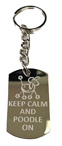 Keep Calm and Poodle On Dog - Metal Ring Key Chain Keychain Poodle Dvd