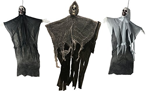 Hanging Black Reaper Prop (Large Hanging Black Reaper and Skeleton Ghoul Halloween Prop Decoration (Set of 3))
