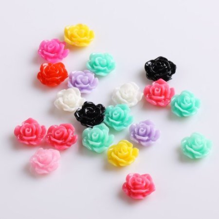 20pcs New Colorful Acrylic 3D Rose Flower Slices UV Gel Nail