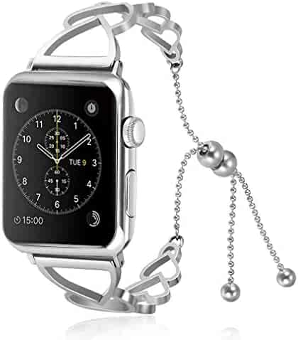 Juzzhou Watch Bands For Apple Watch iWatch 38mm/40mm/42mm/44mm Series 1/2/3/4 Stainless Steel Replacement With Metal Adapter