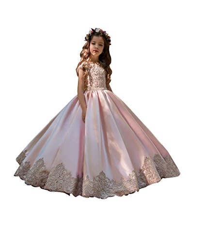 First Communion Flower Girls Lace Dresses Long Pink and Champagne Ball Gown Size 2 -