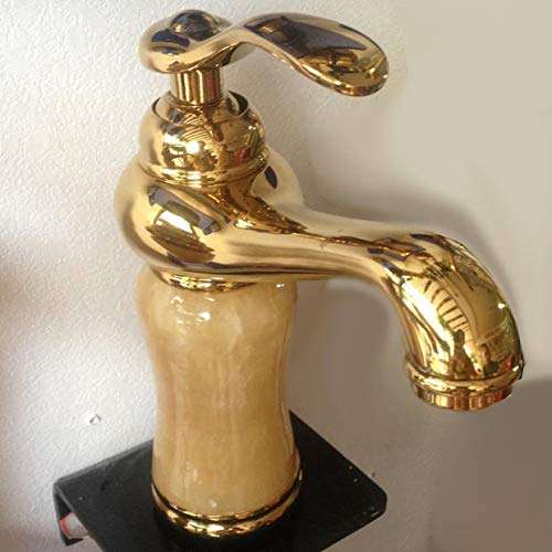 Nine of the Jade gold Hlluya Professional Sink Mixer Tap Kitchen Faucet The bathrooms are all marble gold plated copper jade pink gold hot and cold wash basin Washbasin Faucet, Jade pink gold
