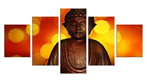 Wind Goddess Costume (Buddhist Buddhism Canvas Wall Decor - 5 Pieces Appreciation Wall Art - Oil Painting - Unframed - Living Room Bedroom Garden Decoration - Jade Gautama Buddha #14)