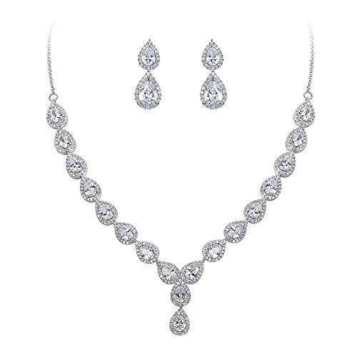 BriLove Wedding Bridal CZ Necklace Earrings Jewelry Set for Women Teardrop Infinity Figure 8 Y-Necklace Dangle Earrings Set Clear Silver-Tone April Birthstone
