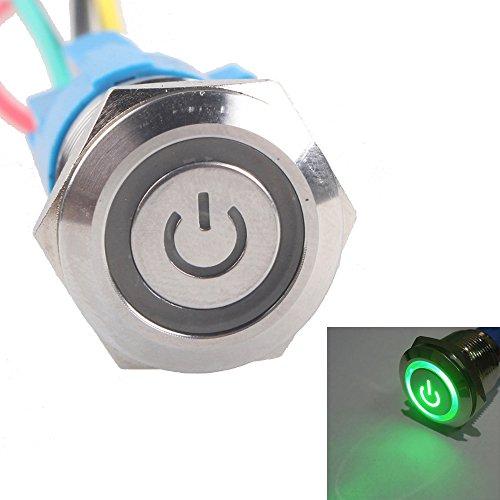 - EtoparsTM 19mm 12V 5A Power Symbol Angel Eye Halo Car Green LED Light Metal Push Button Toggle Switch Socket