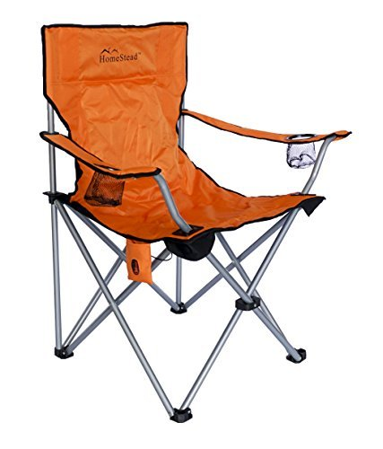 Orange Outdoor Folding Chairs (HomeStead Heated Oversized Folding Camp Chair For Camping Foldable Portable Heavy Duty Lawn Chair - (Orange))