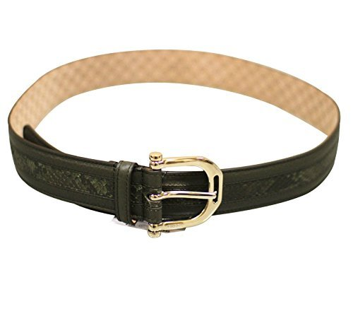 Gucci Women's Green Python Leather Metal Buckle Belt 245885 3216 (85 / 34)