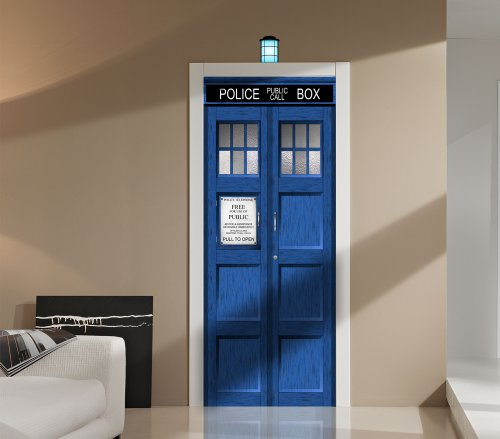 Doctor Who TARDIS Repositionable Door or Wall Decal Sticker Graphic-USA Seller by Images and Words Graphics