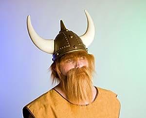 Casco de vikingo con los cuernos de Adultos y el cabello