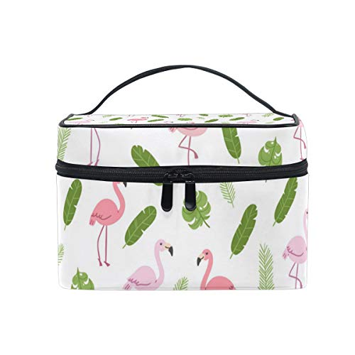 Pink Flamingo And Green Palm Leaves Christmas Gift Retro Cosmetic Bag Light And Easy To Carry Cosmetic Bag Lady Cosmetic Bag Cosmetic Bag Travel Storage Bag