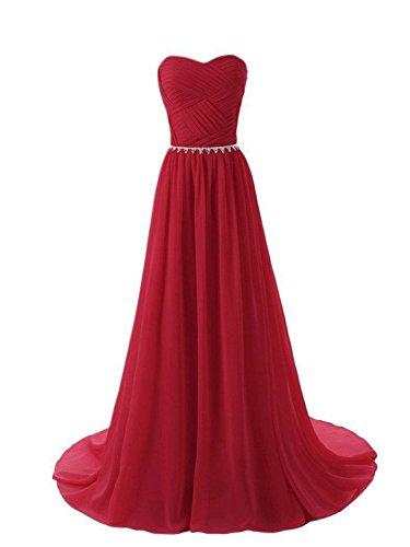 A Jaeden Bandeau Ballkleider Linie Abendkleid Brautjungfernkleid Lang Damen Dunkelrot Partykleid Chiffon