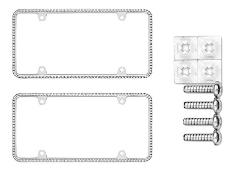 Cruiser Accessories 18130 Diamondesque Chrome License Plate Frame Bundle with Standard Fasteners for Domestic Vehicles (3 Items)