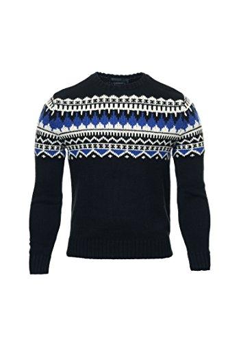 Mens Polo Cashmere Sweater (Polo Ralph Lauren Mens Knit Cashmere Blend Crewneck Sweater - XXL - Black/Blue/Cream)
