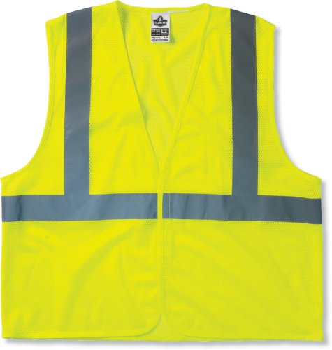 GloWear 8205HL ANSI Economy High Visibility Lime Reflective Safety Vest, Hook & Loop Closure, 2XL/3XL (Inch 1 2 Fire Glass Reflective)