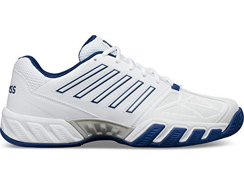 K-Swiss Men's Bigshot Light 3 Tennis Shoes, White/Limoges/Silver (US Size 7.5)
