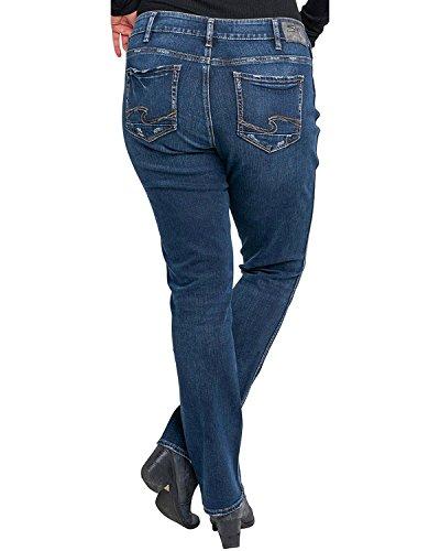 Silver Jeans Women's Plus Size Elyse Mid-Rise Straight Leg Jeans, Dark Wash Indigo, 18x32