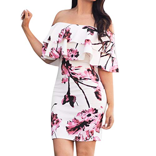 - Women Print Short Dress,FAPIZI Ladies New Double-Layer Ruffled Floral Slim Shoulder Bodycon Mini Dress Pink