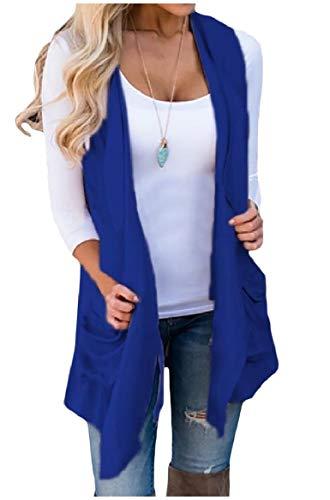 メドレーあご外向きsayahe 女性のソリッドノースリーブオープンフロントのウェストコートのポケット不規則な突風アウターウェア