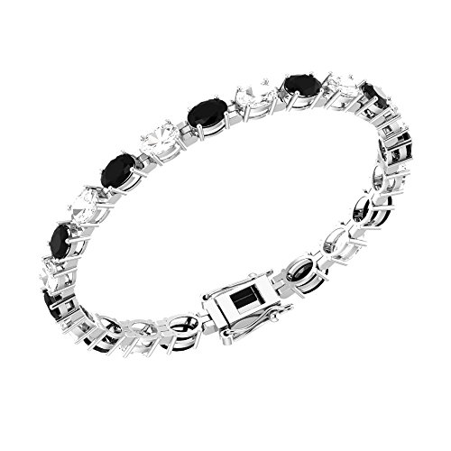 Solid Sterling Silver 6x4mm Oval Cut 10 CTW Black Onyx and White Topaz Brilliant Sparkle Tennis Bracelet for Women, Box Chain with Safety