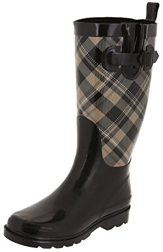 (Capelli New York Ladies Shiny Plaid Printed Rainboot Warm Sand 10)