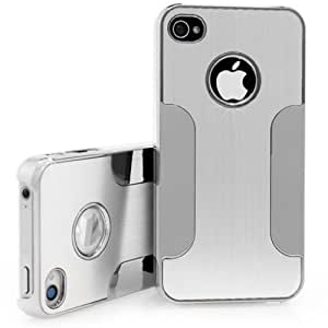 New Elegance Brushed Aluminium Case for iphone 4s - SILVER & Screen Protector by ruishername