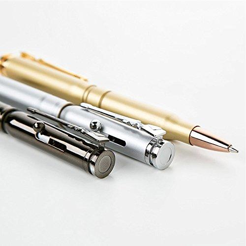 Brass Bullet Shaped Ballpoint Pen with Rifle Design Clip, Gun Metal Photo #3