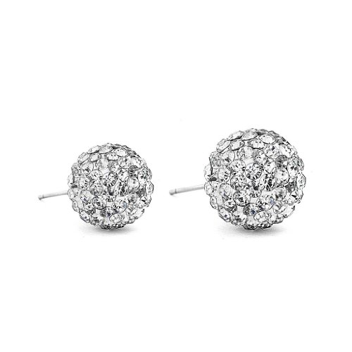 Sterling Silver Crystal Ball 6mm Stud Earrings