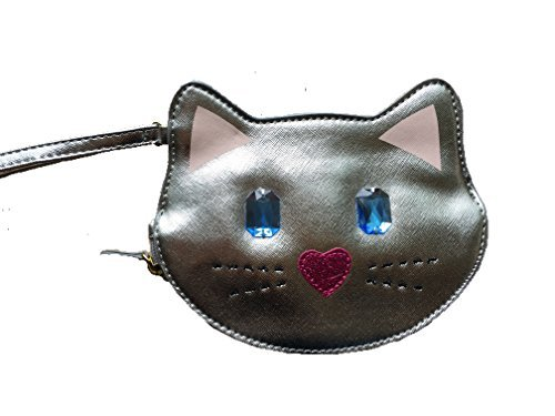 Betsey Johnson Silver Jeweled Cat Coin - Jeweled Bag Heart