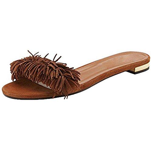 Slip On Slides Brown For Backless Fringed Dress Comfity Mules Tassel Slippers Women Cnwa6qHCpx