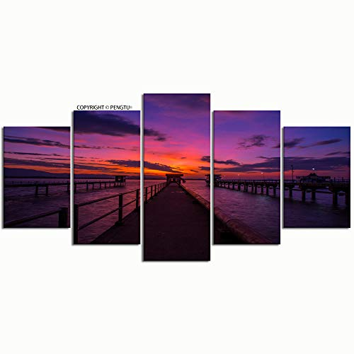 PENGTU Paintings Modern Canvas Painting Wall Art Pictures 5 Pieces Background Morning Light Wallpaper Twilight Sky Wall Decor HD Printed Posters Frame