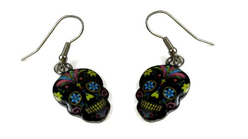 [Day of the Dead / Dia de los Muertos - Mexican Sugar Skull Full Color Black Base Dangle Earrings] (Dia Dangle Earrings)