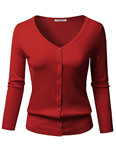 Solid Button Down V-Neck 3/4 Sleeves Knit Cardigan Red -