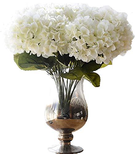 Hydrangea Small (Anlise 5 Big Heads Hydrangea Artificial Flowers Beautiful Silk Bunch Bouquet for Wedding Home Garden Floral Décor, Cream)