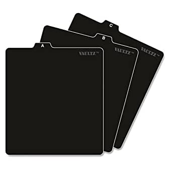 Vaultz A to Z CD and DVD Storage File Guides, 26 Guides per Box, Black (VZ01176)