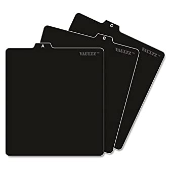 Vaultz A To Z CD And DVD Storage File Guides, 26 Guides Per Box,